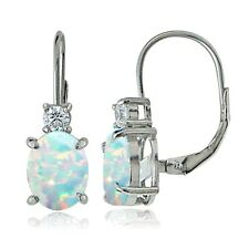 925 Sterling Silver White Topaz and Created Opal Leverback Earrings