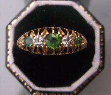 Antique Women's 18ct Gold Emerald & Diamond Ring 5 Stone W3.3g Size L Stamped