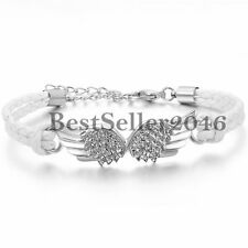 Retro Charm Angel Wing Braided Leather Rope Men's Women's Bracelet Wristband
