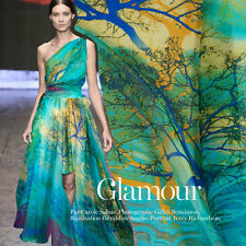 100% SILK CHIFFON FABRIC WITH BLUE TREES PRINT 1 METER S052