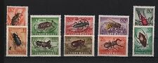 HUNGARY 1954 INSECTS BEETLE 9 DIFFERENT VARIETIES BEE SC# C136-C145