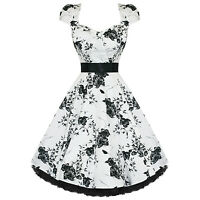 Ladies Womens New White Black Floral 50s Vtg Rockabilly Swing Party Prom Dress