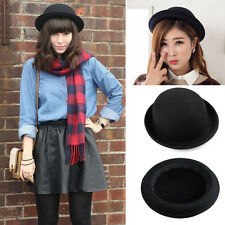 Fashion Cute Fedora Wool Brim Round Bowler Caps Derby Bow Cloche Hat Cap Bucket