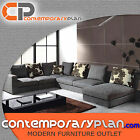 Contemporary Grey Fabric Sectional Sofa w Chaise and Pillows Modern Design Couch