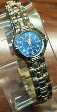 Genuine Geneva Water Resistant Gold Toned Metal Wrist Watch w/ Blue Dial Face!