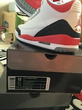 2007 Nike Air Jordan III 3 Retro WHITE FIRE RED CEMENT GREY BLACK DS Size 12