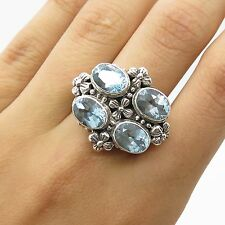 Sterling Silver Large Blue Topaz Gem Cutout Floral Wide Bold Women's Ring Size 7