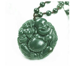 Hand carved natural green  jade laughing buddha zen buddha charm pendant