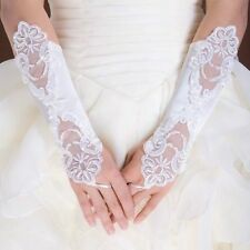 New Ivory Bride Wedding Party Dress Fingerless Pearl Lace Satin Bridal Gloves