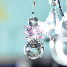 Pink Crystal Suncatcher Feng Shui Prisms Pendant Hanging Drop Wedding Home Decor