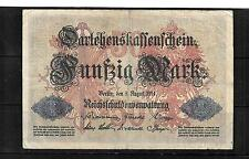 GERMANY GERMAN #49a 1914 VG CIRC OLD 50 MARK  BANKNOTE BILL NOTE  PAPER MONEY
