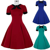 Womens Red Blue 50s 60s VINTAGE Style Tea Dress Swing Evening Party Dance Dress