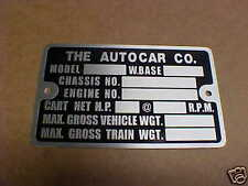 Autocar Truck Chassis Vintage acid etched Data Plate