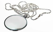 "New 4X 1.75 "" Glass Lens Necklace Magnifier w/ 36"" Sliver Chain * Us Shipper *"