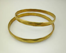 2pcs 64mm in Dia Yellow Raw Brass Faceted Bracelets Bangles for Artists Crafters