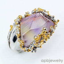 Rough fine art Natural Ametrine 925 Sterling Silver Ring Size 7/R06631