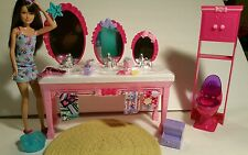 "New OOB Barbie ""Sisters' Beauty Fun"" Bathroom Set  Skipper Doll & Accessories"