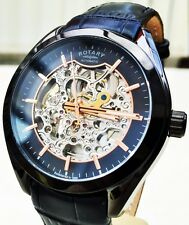 NEW Rotary Swiss Men's Watch Skeleton Automatic Watch Rose Gold RRP £210 Boxed