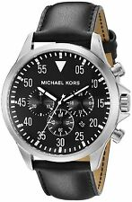 Michael Kors Men's Chronograph Gage Silver Tone Black Leather 45mm Watch MK8442