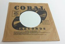 Original CORAL Records Company 45 Sleeve Unbreakable 45 RPM