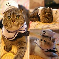 Cat Small Dog Sailor Costume Outfit Adjustable Hat&Cape for Halloween Christmas