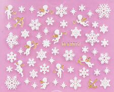Navidad hinchado copos blancos Oro Ángeles De Navidad 3d Arte De Uñas Etiqueta calcomanías