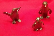 Pewter Penguins  Figurines Group Of Three