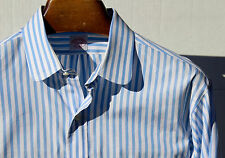 Brooks Bros 17.5/33 Bespoke Blue Stripe Club Collar Shirt - 'JPM' Monogram