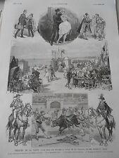 Gravure 1887 - Théatre : Dix jours aux pyérénées , voyage par M Ferrier & Varney