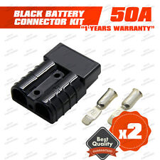 BLACK PAIR ANDERSON SB50-600V Plug- LARGE CABLE TERMINAL BATTERY POWER CONNECTOR