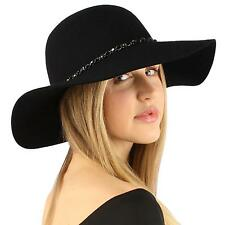 "Winter Soft Wool Felt Chrome Hatband Floppy 3-1/2"" Dress Church Hat Adjust Black"
