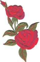 RED ROSES - FLOWERS - GARDENING - ROSE Iron On Embroidered Applique Patch