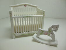 Dollhouse Miniatures Furniture 1/12: 30050wprh Hand Painted Crib & Rocking Horse