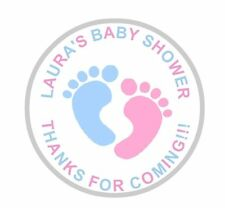 24 Personalised Round Baby Shower Stickers Labels Pink And Blue