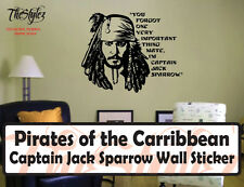 Pirates of the Carribbean Captain Jack Sparrow Custom Wall Vinyl Sticker