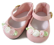 "EASTER Pink Dress Shoes with Rosebuds for 18"" American Girl Doll Clothes"
