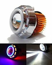 Universal Car Bike Red Blue Led Hid Projector Head Light Double Ring Angel Eyes.