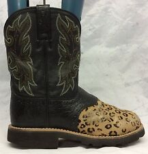 TWISTED X SZ 6 M WOMENS CHEETAH PRINT COWHIDE TOOLED LEATHER WESTERN BOOTS