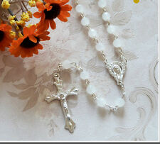 White Pearl Glass Rosary Beads Catholic Wedding/Holy Communion/Confirmation Gift