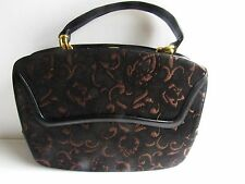 Beautiful 1950's Vintage Rosenfeld Tapestry & Leather Handbag In Mint Condition