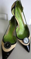 ETRO BLACK CROC, STRAW UPPERS & LIME FOOTBED POINT TOE KITTEN HEELS Sz 38.5/8.5