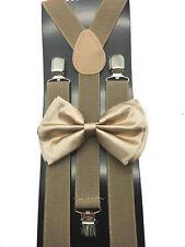 Tan color Bow Tie & Suspender Set Tuxedo Wedding Formal Men's Accessories