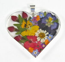 925 sterling silver large heart pendant with real flowers pattern 4