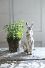 White Crackled Bunny Rabbit Statue~Primitive/French Country Garden Room Decor