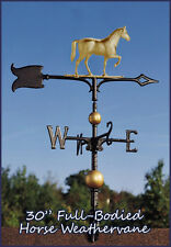 "Whitehall Weathervane 30"" Horse Full-Bodied + Mount Ships SAME DAY - Gold-Bronze"