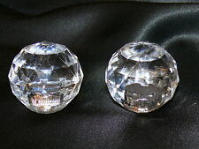 Vintage Faceted Lucite Ball Orb Lamp Finials Finial Pair Set of 2 Chrome 1.5""