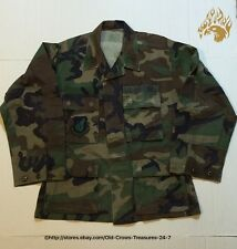 U.S. Air Force Woodland Camo Shirt, Patches, Sz Small X-Short