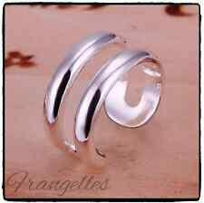 925 Sterling Silver Double Line Wrap Ring Adjustable Thumb Finger FREE Gift Bag