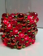 5 x Red Pre-Lite LED Lighted Bead String Garland 8 feet each Party Christmas
