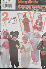 Simplicity Toddler Costumes Halloween 1 2 3 4 7984 Santa Bunny Jester Witch Ange